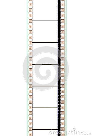 35mm movie film strip with soundtrack and blank frames, vertical