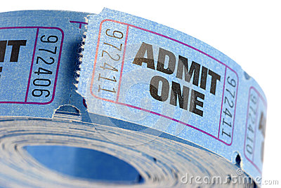 Roll of blue admit one tickets isolated on white background, close up