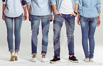 Young people in jeans