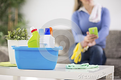 Cleaning products ready for cleaning