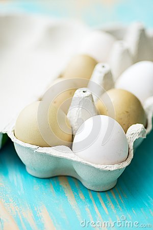 Raw fresh araucana chicken eggs