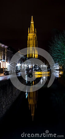 Tower of the Church of Our Lady Bruges at night