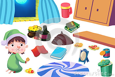 Clip Art Set: The Kid, Food, and Family Kitchen Stuff.
