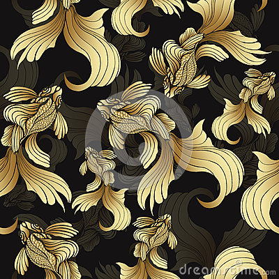 Gold fish, seamless pattern. Decorative abstract fish, with golden scales, curled fins on black background. Jewel ornament. Rich,