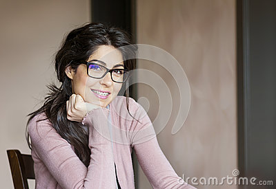 Portrait of a beautiful woman with braces on teeth.Orthodontic Treatment. Dental care Concept