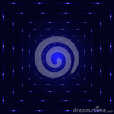 Blue neon laser perspective tunnel