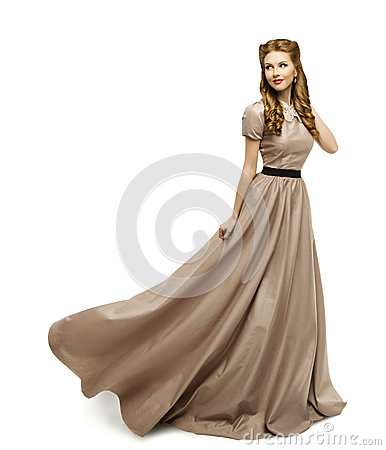 Woman Brown Dress, Fashion Model in Long Gown Turning White