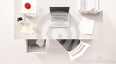 Working desk space, top view, with computer laptop, paper work, books, chair, opened drawer, apple and etc., 3d rendered