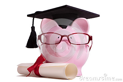 Student college graduate Piggy Bank degree diploma isolated on white, education success concept