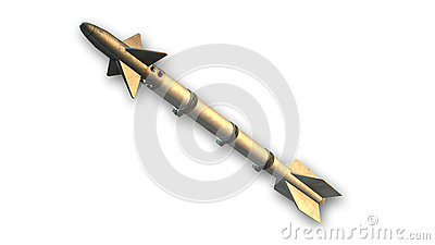 Rocket, cruise missile  on white