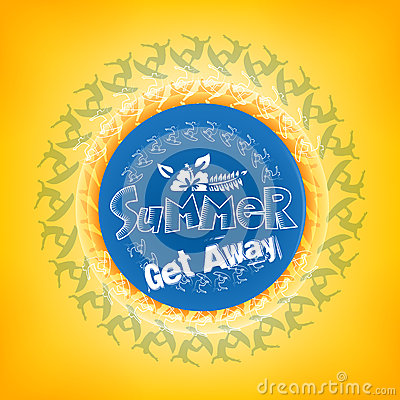 Summer Get Away Title in a Round Blue Color with a Surfers