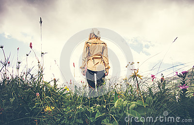 Young Woman walking alone Travel Lifestyle concept