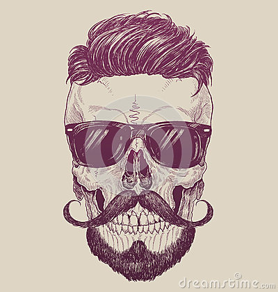 Hipster skull with sunglasses, hipster hair and mustache
