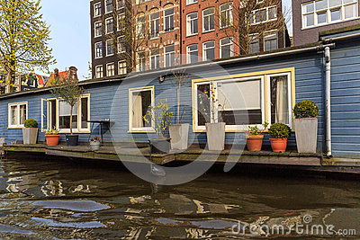 Houseboat with terace in Amsterdam
