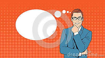 Business Man Hold Chin Businessman Think, Ponder New Idea Chat Bubble Pop Art Retro Style