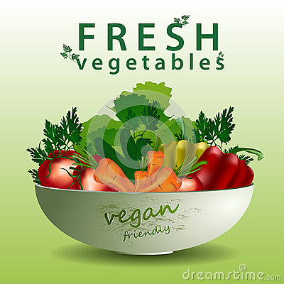 Fresh vegetables in the salad plate