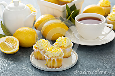 Lemon cupcakes with bright yellow frosting