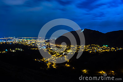 Night panoramic view of the old historic neighbourhood of Brasov, Romania