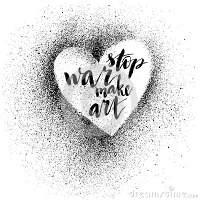 Stop war. Handdrawn brush ink lettering