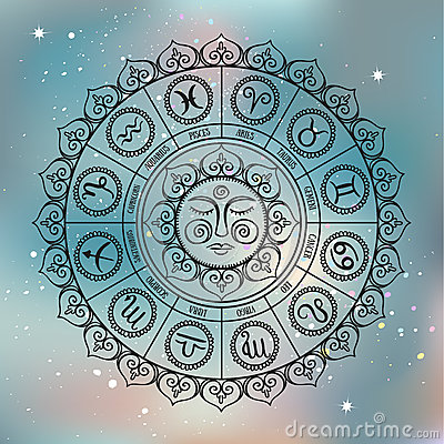 Zodiac circle with horoscope signs.Hand drawn illustration