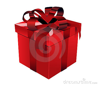 Red gift box with red bow