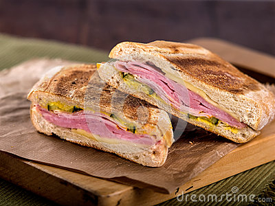 Ham and cheese toasted panini sandwich