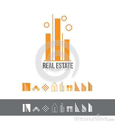 Real estate line lineart logo icon set