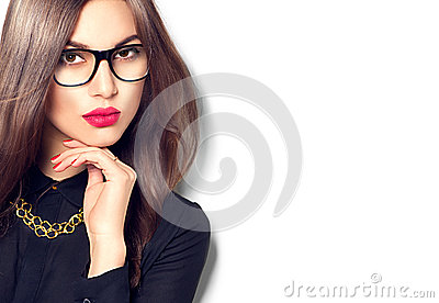 Beauty sexy fashion model girl wearing glasses