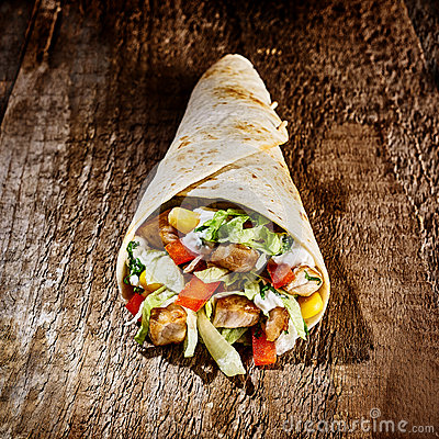 Tex Mex Wrap Stuffed with Meat and Vegetables