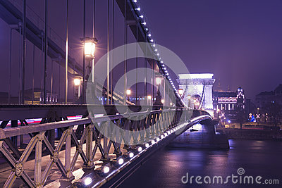 The Chain Bridge At Night, Budapest