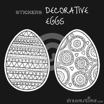 Black, white decorative eggs. Set of stickers on black background.