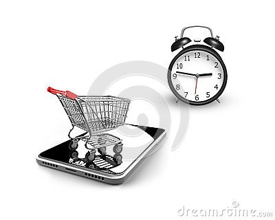 3D alarm clock with small shopping cart on smart phone