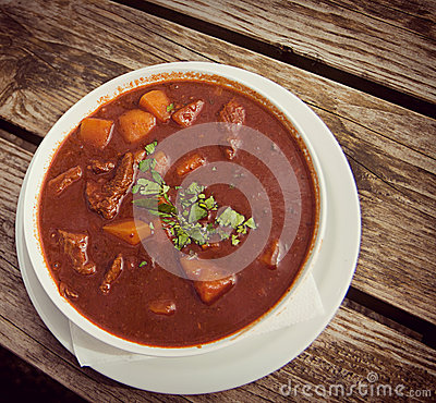 Goulash soup at beer garden, traditional Bavarian food