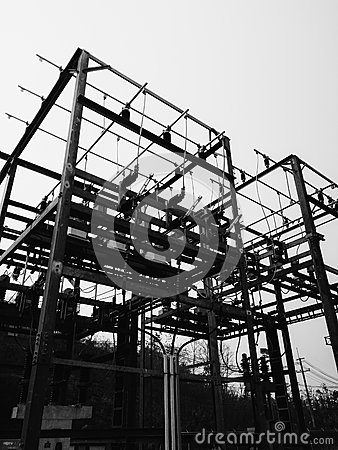 Black and white imaget of Transformer substation