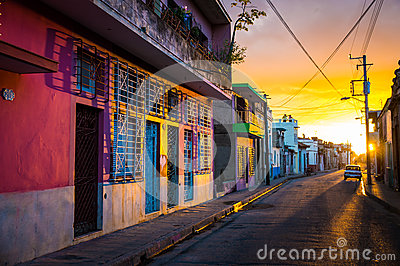 CAMAGUEY, CUBA - Street view of UNESCO heritage city centre