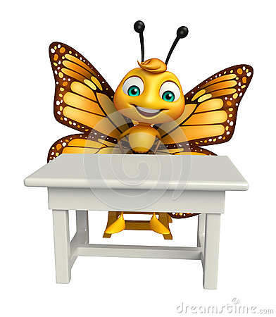 fun Butterfly cartoon character with table and chair
