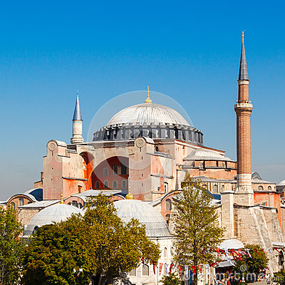 Hagia Sophia against the blue sky