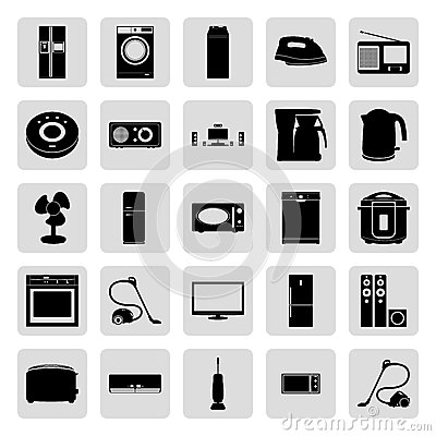 House electronics black simple vector icons set