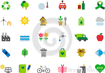 Icons about green issues