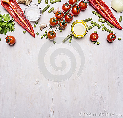 Healthy foods, cooking and vegetarian concept summer vegetables border ,place for text wooden rustic background top view