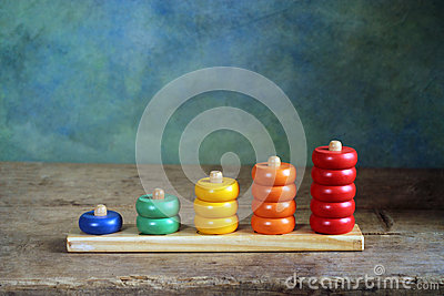 Children wooden colorful figures