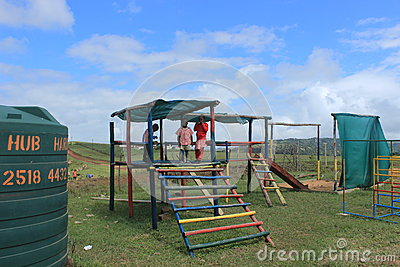 Group of African children playing outdoors in a playground, Swaziland, southern Africa