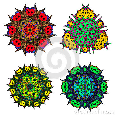 Set of flower mandalas/Abstract round ornament/Vector mandala set/Mandala design