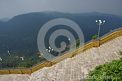 Large stairways in the middle of hilly mountainous jungle