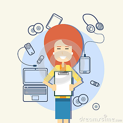 Business Woman Hold Paper Document Sketch Gadgets, Laptop Computer, Cell Smart Phone