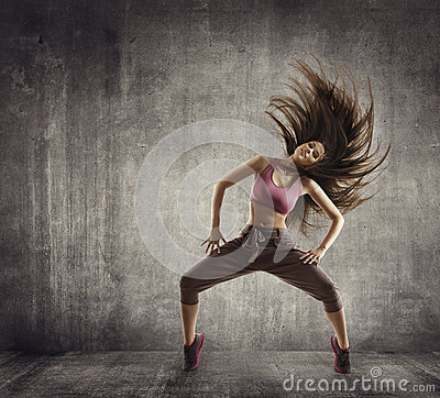 Fitness Sport Dance, Woman Dancer Flying Hair Dancing, Concrete
