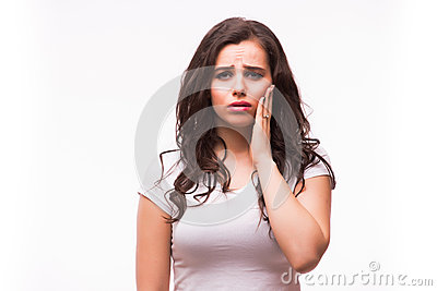 Woman suffering from jaw pain, toothache