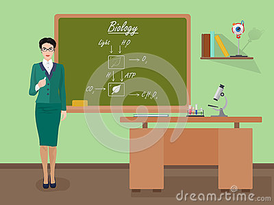 School Biology female teacher in audience class concept. Vector illustration.