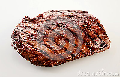 Thick succulent portion of barbecued flank steak
