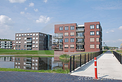 Modern apartment buildings waterfront